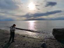 Sharon collecting rocks