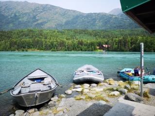Rafting and fishing boats on Kenai Lake