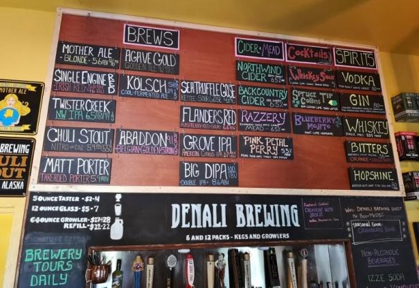Denali Brewing menu