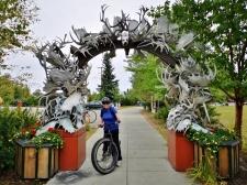 Antler arch along bike path