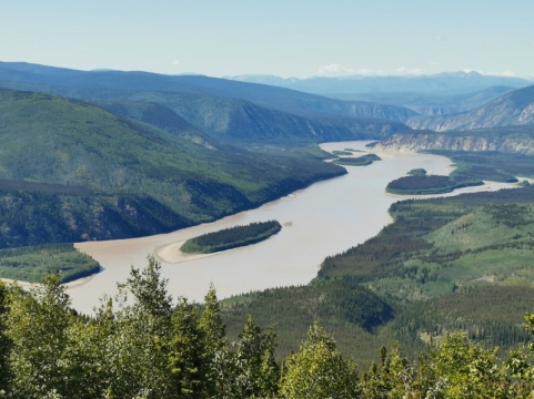 These islands in the Yukon River are actually used to grow some crops