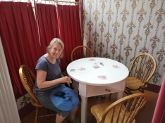 Sharon ready to play poker in the saloon