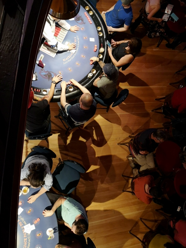View of the Blackjack tables below - fun watching the betting