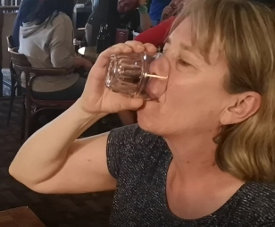 Sharon completes the sourtoe challenge