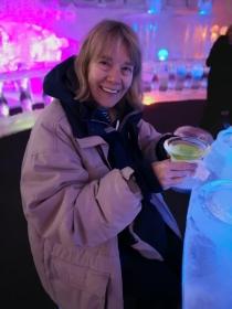 Enjoying an Appletini at the ice bar