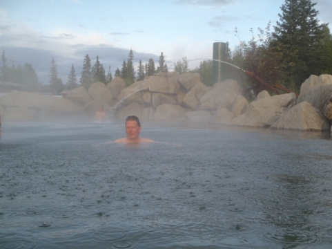 Enjoying the cool creek water spray