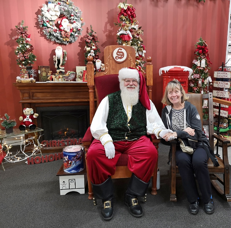Sharon pleads her case to Santa that she's on the nice list