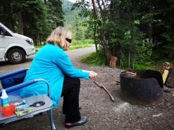 Sharon cooking our Reindeer Polish Sausage