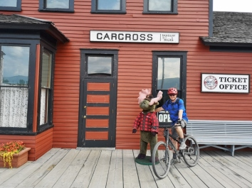 At the Carcross historic train station after our ride
