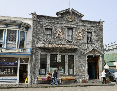 Downtown Skagway - Artic Brotherhood Hall (1900) made with 8,883 pieces of driftwood
