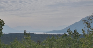 Llewellyn Glacier in the distance but too much forest fire smoke haze to see it