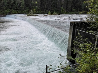 Artificial waterfall to help force the salmon up the ladder