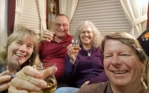 Enjoying a wee dram in Geoff and Karen's 5th wheel