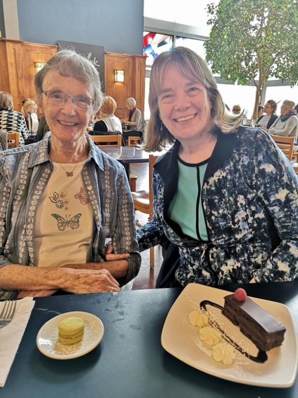 Sharon's birthday dessert at the Prairie Ink Cafe