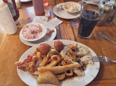 Flounder and Calamari with Holy City Porter beer