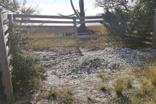 Oyster shell recycling area - used to establish new oyster colonies