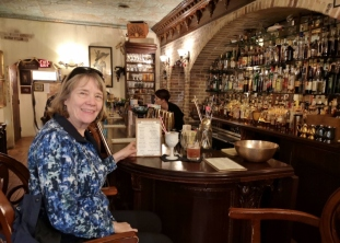 Sharon in the Speakeasy bar with her Brandy Alexander Float