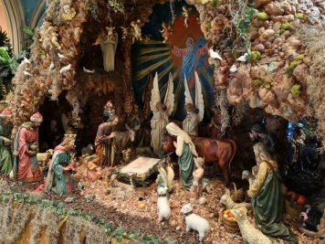 Nativity scene - Note the sign waiting for baby Jesus