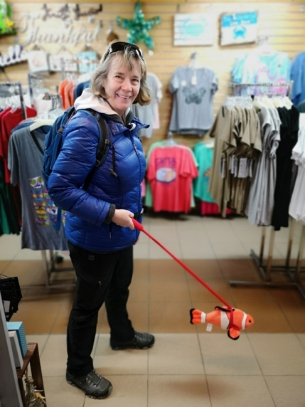 Sharon walking her Clownfish