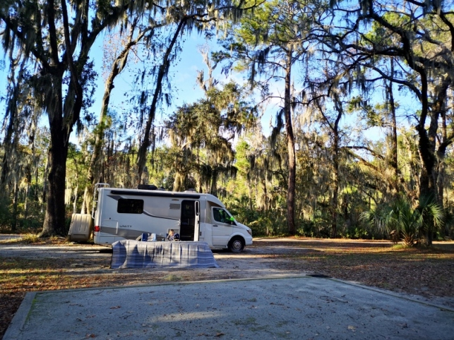 Our campsite at Skidaway Island SP - drying out our mat after all the rain