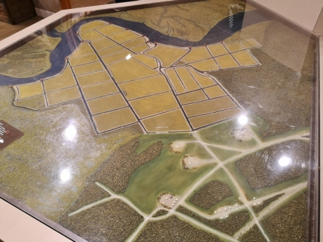 Model of the plantation grounds including the quadrants where the rice grew
