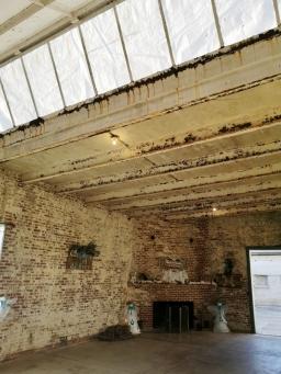 Inside art studio with skylight