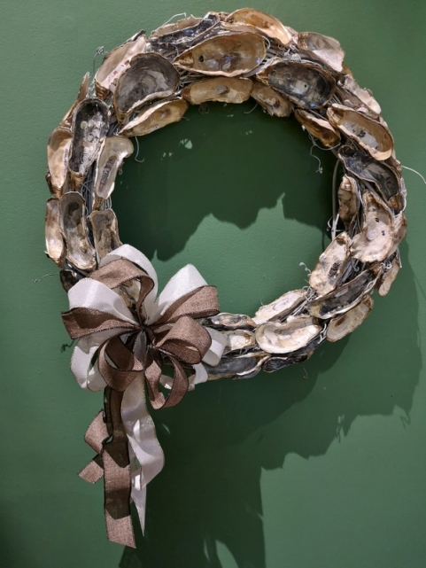 Wreath made from oyster shells