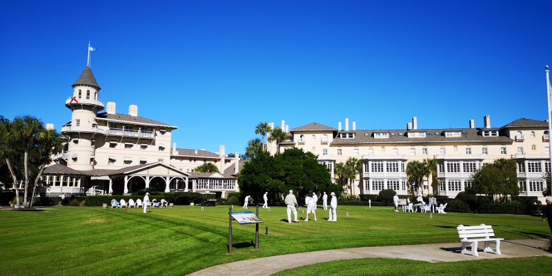 "Jekyll Island Clubhouse today with the ""rich"" playing Croquet"