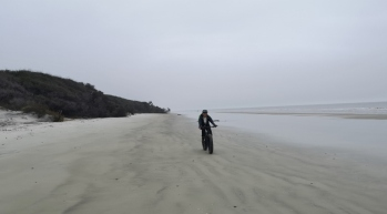 Riding on Glory Beach looking for shells. 1989 movie Glory was filmed here.