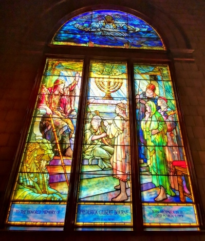 Stained glass window at church entrance - done by Louis Tiffany