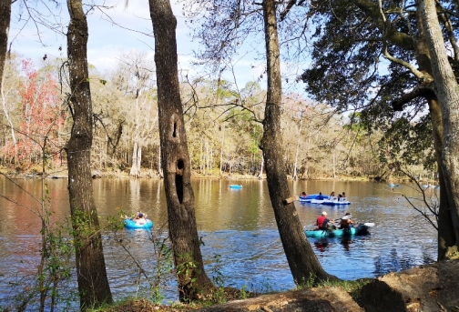 Tubers and kayakers on Santa Fe River
