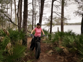 Biking the trails in Fred Gannon Rocky Bayou SP