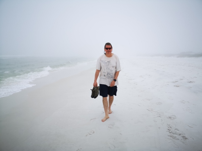 Foggy walk on Topsail Beach