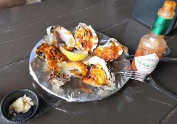 Cheddar Jalapeno Baked Oysters with amazingly fresh horseradish