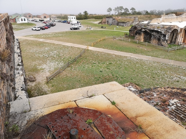 This shows where the wall of Fort Pickens that was blown out by the deadly explosion