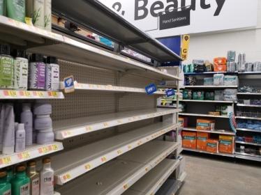 Walmart Hand Santizer shelves - Coronavirus impact