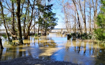 Riverbank flooded so you can't reach the boat dock