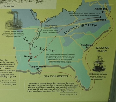 Slavery trade routes - middle one being Natchez Trace